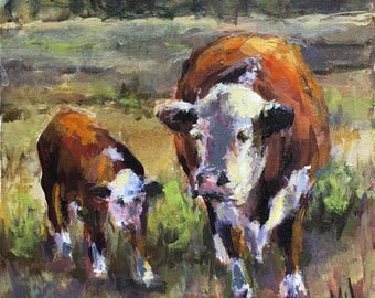 Cow and calf grazing in field.  Original oil on stretched canvas.  12 x 12