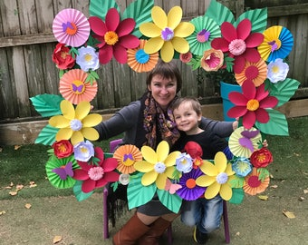 Paper flowers PHOTO FRAME/ Wedding Backdrop / Party decoration /Birthday Party décor/ Photo booth /Nursery décor