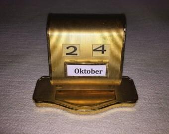Old perpetual roll calendar, calandar brass roll vintage perpetual calendar