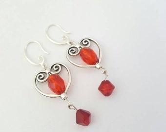 Red heart earrings - Valentine earrings - Red dangle earrings - Red drop earrings - Heart shaped earrings - Long dangle earrings