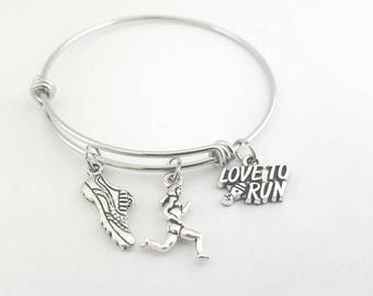 Running bracelet - Running charm bracelet - Running charms - Love To Run bracelet - I love running bracelet - Running bangle - Running charm