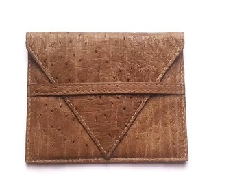 Leather ostrich billfold. Italian Handcrafted Wallet slight for her and him slim enough to fit it your back pocket. Gift for everyone. Ganza