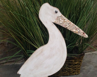 Pelican, Pelican Art, Wood Pelican, Shell Pelican Art, Florida Bird, Coastal Art, Coastal Home Decor, Beach Style