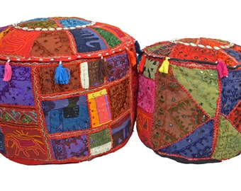 "Beanbag Pouffe Cover - Recycled Fabric Patchwork Large 23"" Medium 18"""