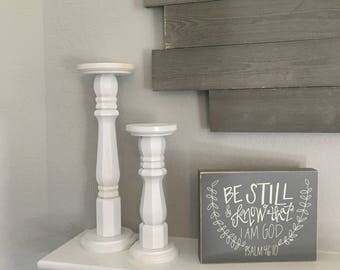 Rustic Chic Candlesticks - Set of 2