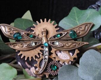 """Green Dragonfly"" - inspired steampunk brooch"