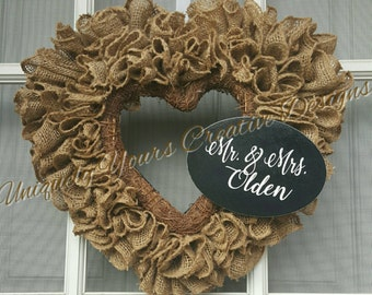 Rustic Burlap Wreath, Rustic Heart Wreath, Rustic Wedding Wreath, Burlap Wedding Wreath, Mr and Mrs  Wreath, Burlap Heart Wreath