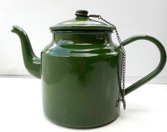 Vintage Enamel Tea, Coffe, Milk Green Pot Jug, Signed 0,5 L
