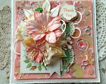 "Beautiful Handmade Shabby Chic Peach ""Thank You"" Greeting Card #WC2016V"