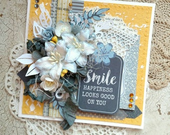 Beautiful Handmade Shabby Chic Smile Greeting Card #WC2017-14