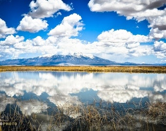 Large Wall Art, Mountain Print, Nature Lover Gift, Scenic Landscape, Colorado Mountains, Naturalist Gift Idea, Reflection, Clouds, Lake