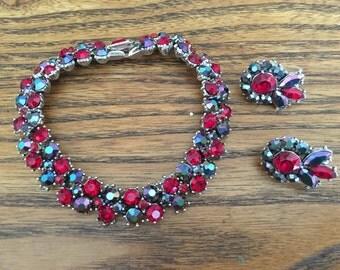 Crown Trifari Ruby Red and Dark Redish Black Aurora Borealis Bracelet and Earring Set 0948