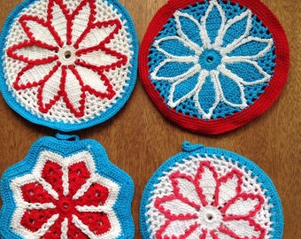 Set of 4 lace trivets or hotpads.