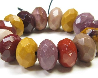 10x6mm Quality Colorful Australian Mookaite Faceted Roudelle Bead - 15 beads - #PG7040