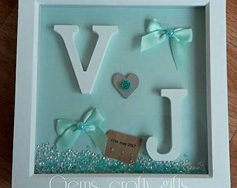 Wedding, Engagement, anniversary gift. Framed and personalised. Made in any colours. A lovely keepsake gift for the happy couple