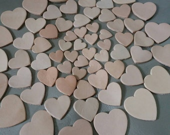 Leather Hearts, 5 Sizes 15 mm. 20 mm 25 mm. 30 mm., 40 mm., Natural, Leather Hearts Die Cut, Vegetable Tanned Leather, DIY Projects.