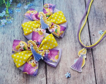 Set of 3 Rapunzel birthday party Rapunzel hair bow Rapunzel necklace Disney tangled necklace Hair clip Princess necklace Gift for girlfriend
