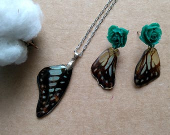 Real butterfly jewelry, Resin jewelry, Butterfly wings, Butterfly Earrings, Handmade jewelry, Only one, Nature jewelry, Butterfly necklace,