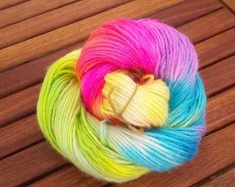 rainbow unicorn - hand dyed yarn - 100g - aran