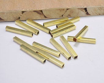 50pcs Tube Beads,Raw Brass Tube Beads , Long Square Tube Beads,Rectangle, Tube Necklace 30x4mm