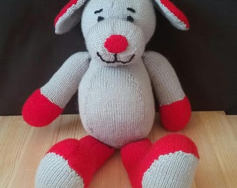 Hand knitted dog, handmade toy, teddy, baby, gift, stuffed animal, ready to ship
