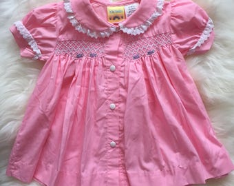 Vintage bubblegum pink baby toddler girl dress 80s 1980s
