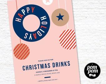 Happy Holidays Invite - PRINTABLE DIGITAL FILE
