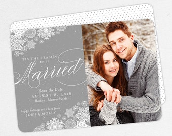 Snowflake Christmas Save the Dates, Holiday Save the Dates, Tis the Season to be Married Christmas Cards, Xmas Save the Date,