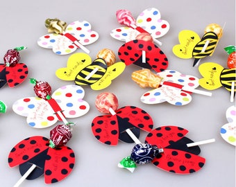 48-50pcs butterfly bee ladybug Lollipop packaging holder sweets packaging party supplies