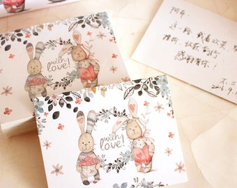 50pcs cute rabbit with you wedding invitation cards, diy card