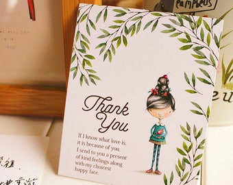 50pcs cute girl thank you cards, blank card,wedding card