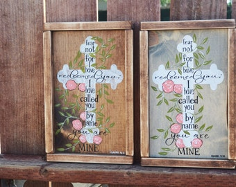 Isaiah 4:331 Cross Rustic Wooden Sign