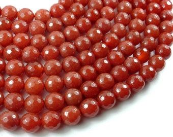 Carnelian, 10mm Faceted Round Beads, 15 Inch, Full strand, Approx 38 beads, Hole 1mm (182025003)