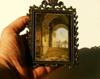 ACEO Original Painting, Oil on Panel Miniature Landscape Painting