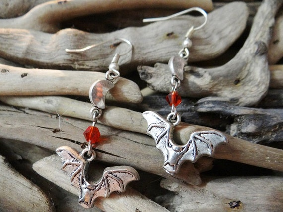 Bat Earrings Bats Vampire Cave Blood Moon Flying Bloody Horror Gore Halloween Goth Gothic Wicca Pagan Fantasy Wiccan