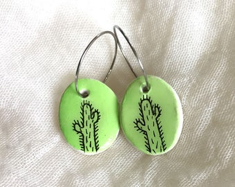 Hand Painted and Illustrated Earrings - Apple Green Cactus