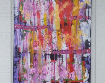 Pink Abstract Painting - Pink Painting - Original Canvas Art - Graffiti Art - Acrylic Painting -  Small/Medium Painting - Australian Art