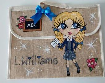Personalised jute book bag