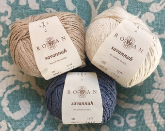 Rowan SAVANNA 7.25 +1.25ea to Ship - Rowan Cotton Yarn Worsted Weight - Tan 931 Bare - Blue 938 Barren - Soft Summer Yarn. MSRP 10.95