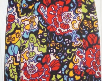 Vintage mod xs 2-4 bright wrap skirt 60's lined floral maxi