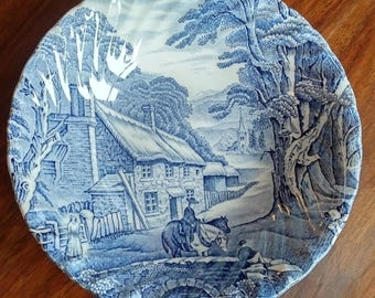 Hand Engraved Old Foley Blue dish