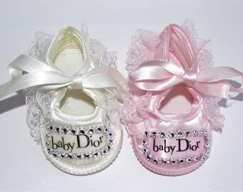 Romany Bling Bespoke Pink Cream Satin Baby Dior Ribbon Baby Shoes