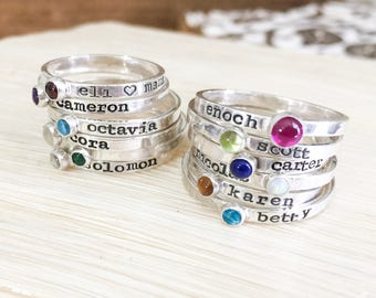 Stackable Birthstone Ring - Birthstone Ring - Hand Stamped Stacking Rings - Name Ring Stackable - Sterling Silver Name Ring - Stacking Rings