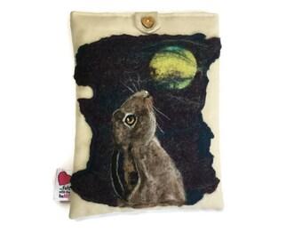 Luxury padded iPad/tablet case, featuring original artwork hare, moongazing