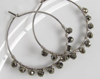 Faceted Pyrite Hoop Earrings Edge Wrapped Sterling Silver