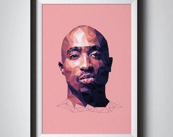 All Eyes On Me - Tupac Illustration, Wall Art, 2pac Music Poster, Hip Hop Art Print