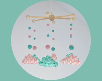 Mobile green baby - cloud and pom poms - pink and green mint water