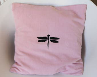Pink Dragonfly Cushion cover black for an original interior decoration - dimension 40 x 40
