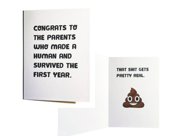 1st Birthday Card - First Birthday Card - To The Parents Who Made a Human and Survived - Kraft Envelope
