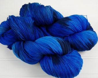 Lace Weigh Merino 2 ply , Hand Dyed Yarn, 965 yards on 4 oz skein, Blues